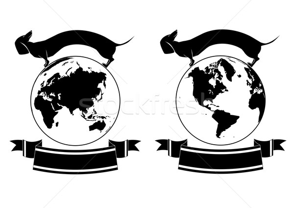 set of globe and dog Stock photo © tanais