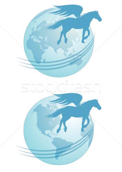 Expressz szállítás eps10 ló világ Föld posta Stock fotó © tanais
