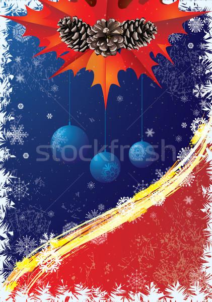 Mavi kırmızı renkler çam arka plan Stok fotoğraf © tanais