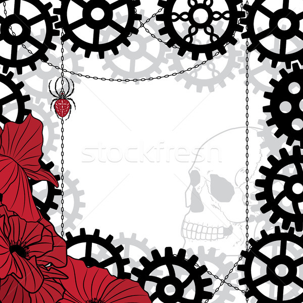 frame with skull, gears, spider and chains Stock photo © tanais