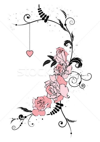 Rózsák szív virágok esküvő rózsa természet Stock fotó © tanais