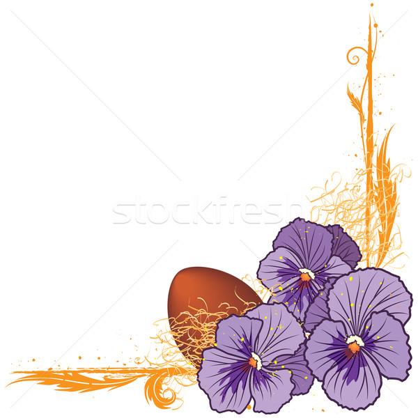 Keret ibolya tojás vektor virágmintás eps Stock fotó © tanais