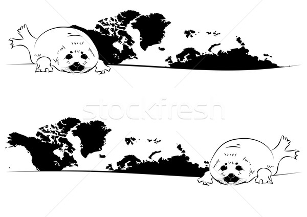 Fóka baba szett vektor térkép feketefehér Stock fotó © tanais