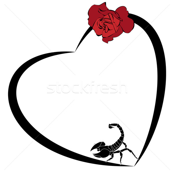 valentine  frame with rose and scorpion Stock photo © tanais