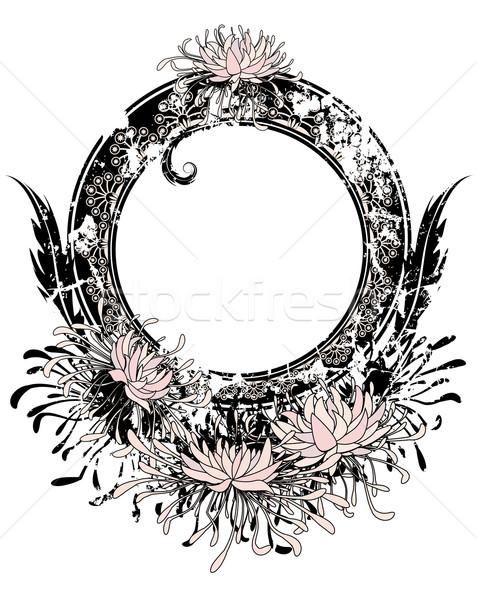 Keret rózsaszín krizantém vektor feketefehér szín Stock fotó © tanais