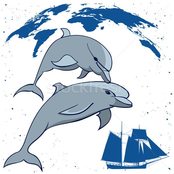 dolphins and  tall ship Stock photo © tanais