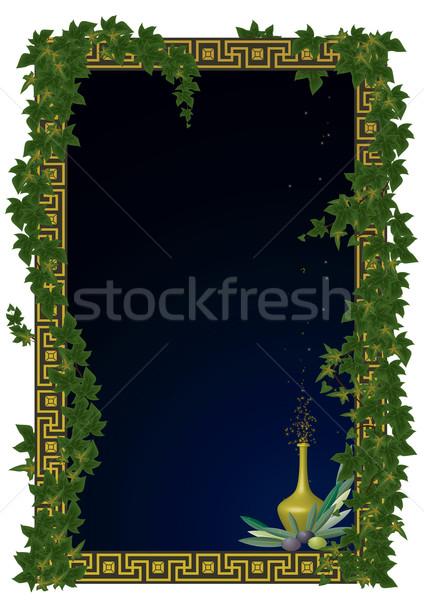 Keret olajbogyó borostyán vektor ágak étel Stock fotó © tanais