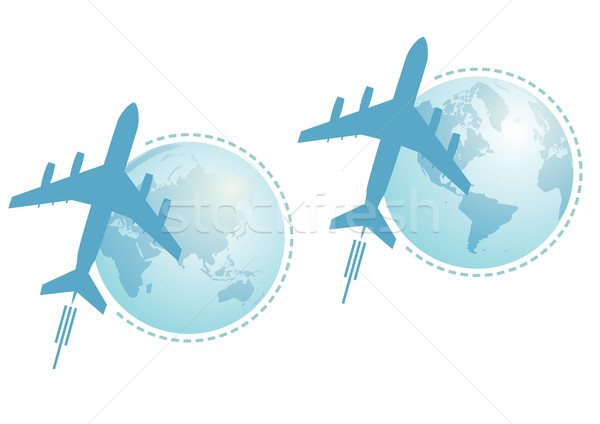 airplane and globe, set Stock photo © tanais