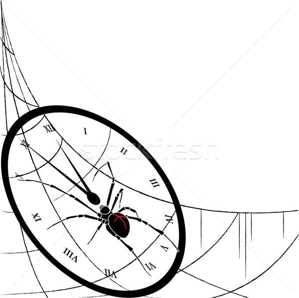 clock, spiderweb and spider Stock photo © tanais