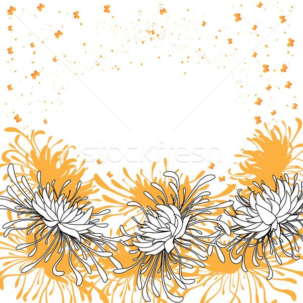 Krizantém pillangók virágmintás vektor virág terv Stock fotó © tanais