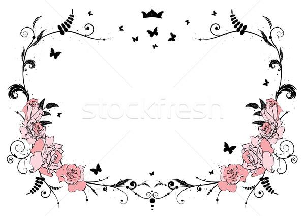 Keret rózsák vektor rózsaszín korona pillangók Stock fotó © tanais