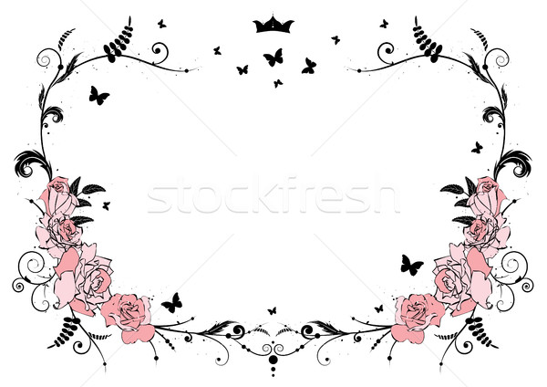 Frame rozen vector roze kroon vlinders Stockfoto © tanais