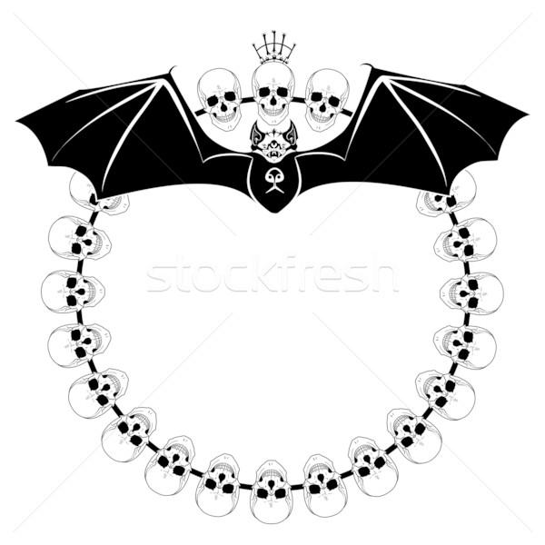 Bat wektora ramki podpisania śmierci czarny Zdjęcia stock © tanais