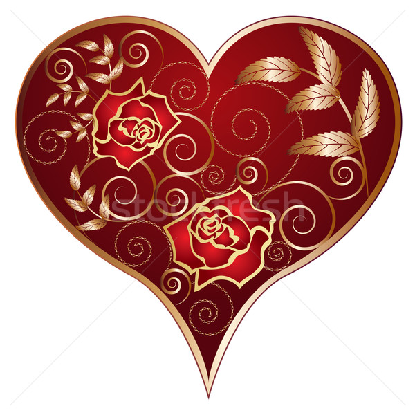 Stok fotoğraf: Kalp · güller · model · zincirleri · yaprak