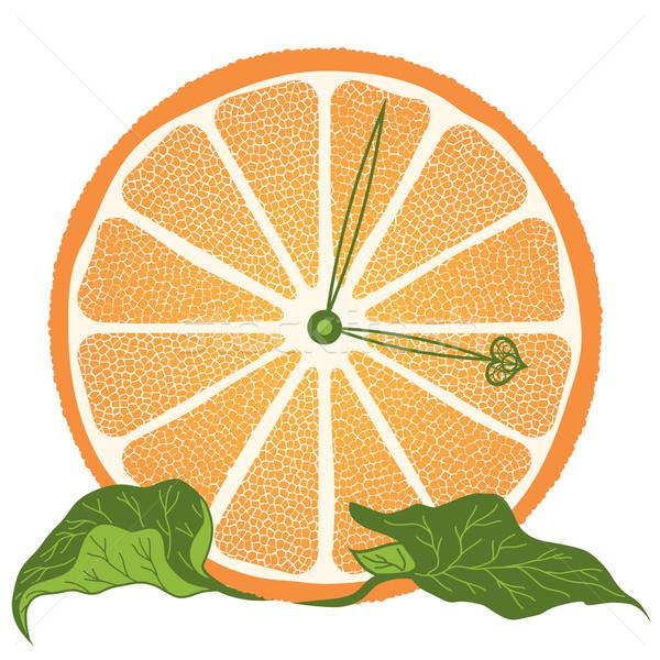 Сток-фото: ломтик · оранжевый · часы · стилизованный · долька · апельсина · природы