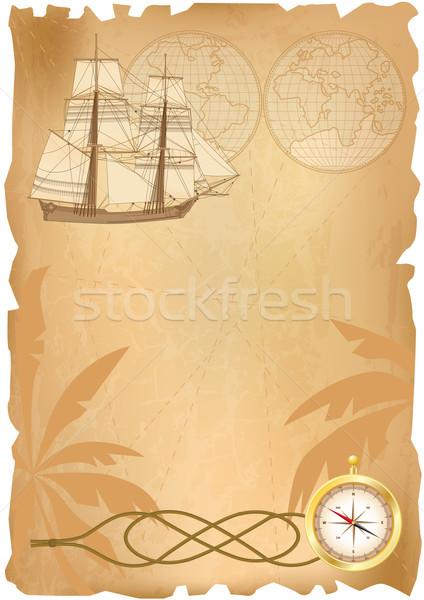 Mare viaggio sfondo elementi carta nave Foto d'archivio © tanais