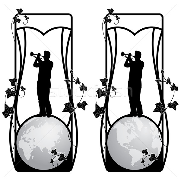 set of vector frame with trumpeter? ivy and globe Stock photo © tanais