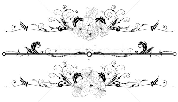 set of floral background with hibiscus and poppy Stock photo © tanais