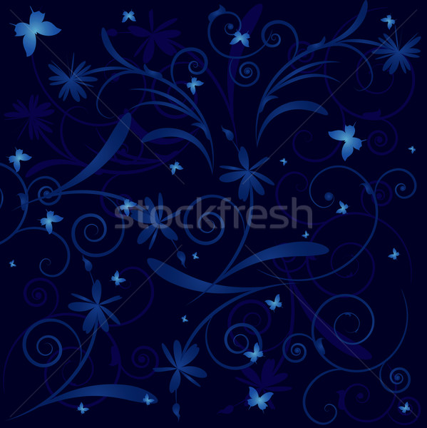 Floreale farfalle fiore blu notte impianto Foto d'archivio © tanais