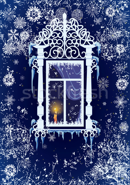 Kaars venster christmas vector sneeuwvlokken brand Stockfoto © tanais