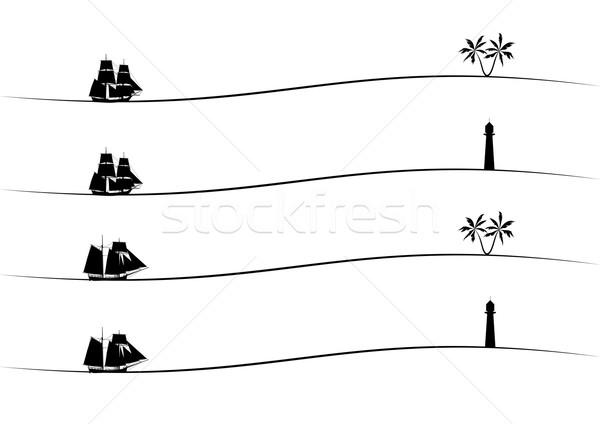 発送 手のひら 灯台 セット ベクトル ストックフォト © tanais