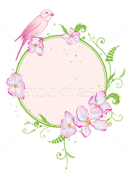 floral frame with bird Stock photo © tanais