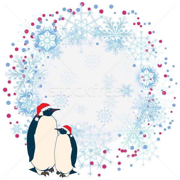 New Year frame with penguins Stock photo © tanais