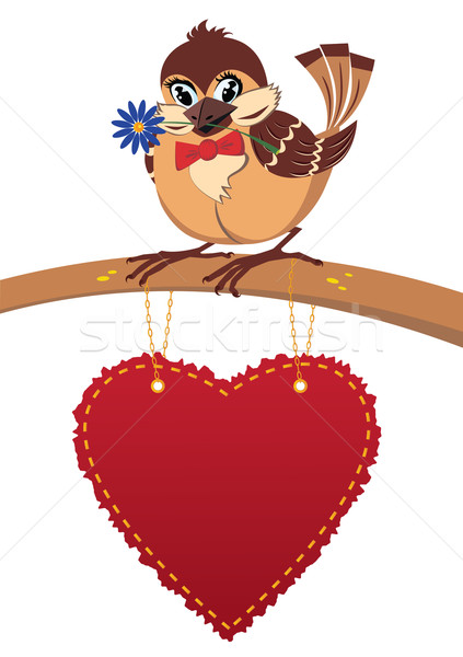 Pardal amor cartão postal valentine desenho animado vetor Foto stock © tanais