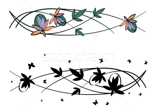 Conjunto floral padrões vetor art noveau abstrato Foto stock © tanais