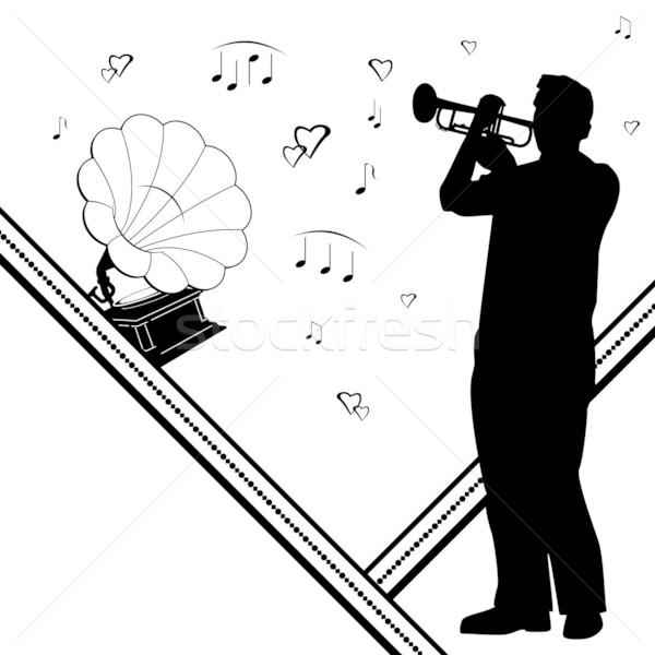 Foto stock: Gramofone · notas · vetor · fundo · retro · soar