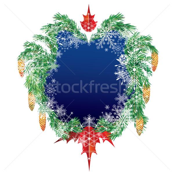 Karácsony vektor keret fenyő boldog természet Stock fotó © tanais