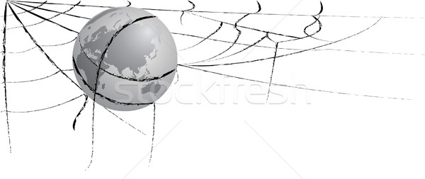 Stock photo: earth entangled in spiderweb