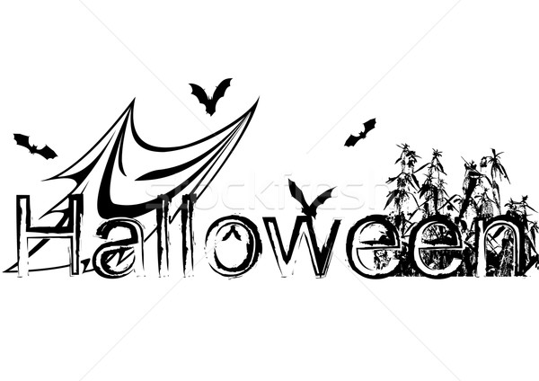 Halloween illustration with bats and ghost Stock photo © tanais