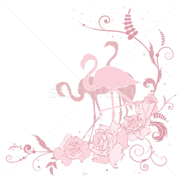 pink flamingo and roses Stock photo © tanais