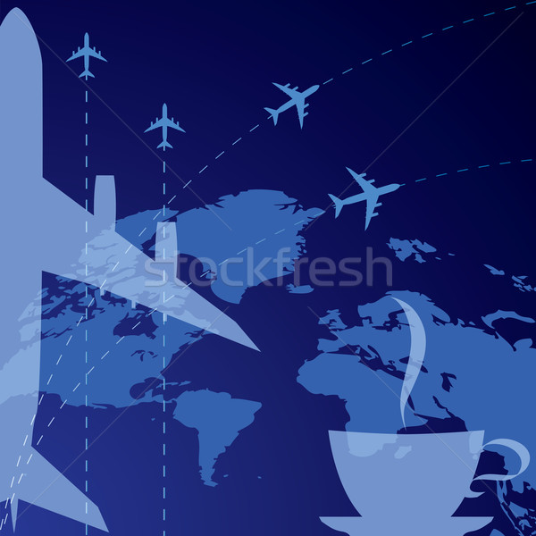 airplane and cup of coffee Stock photo © tanais