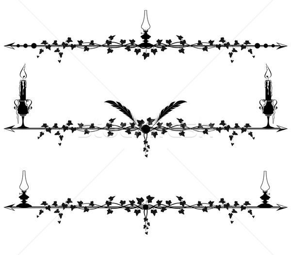Klimop grens lampen kaarsen ingesteld vector Stockfoto © tanais