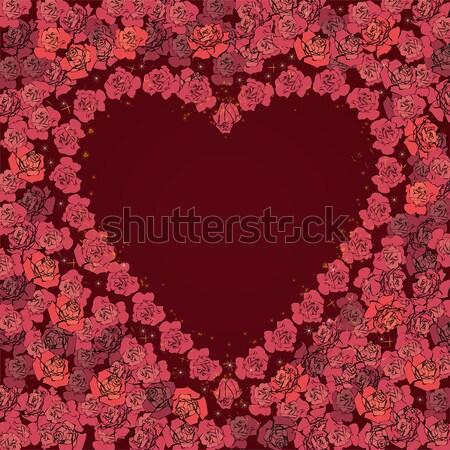 フレーム 花 バラ バレンタイン ベクトル バラ ストックフォト © tanais