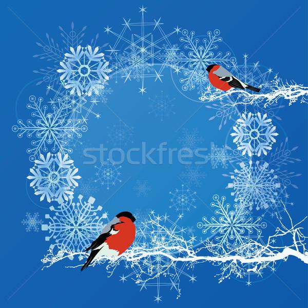új év keret vektor absztrakt kék fehér Stock fotó © tanais