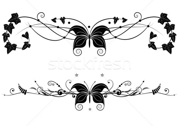 Сток-фото: набор · бабочка · вектора · Баннеры · цветочный