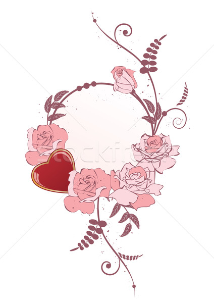 frame with heart and  roses Stock photo © tanais