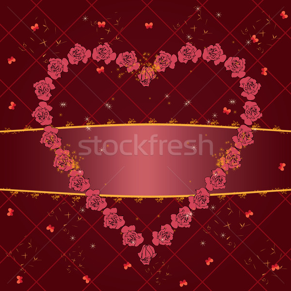 バレンタイン フレーム ベクトル バラ 蝶 花 ストックフォト © tanais