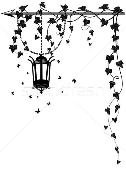 Sarmaşık sınır vektör kelebekler köşe Stok fotoğraf © tanais