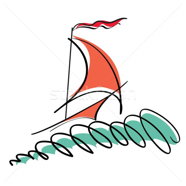 Illustration stylisé yacht noir vague blanche Photo stock © tanais