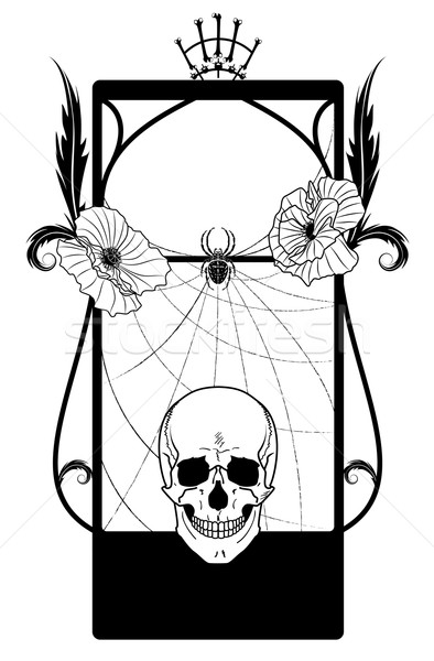 vector frame with skull and poppies Stock photo © tanais