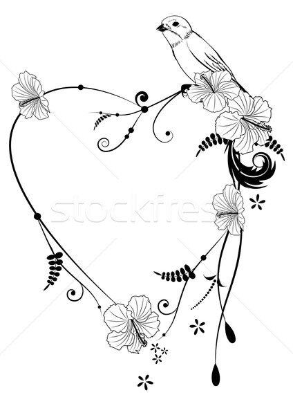 Valentine frame with bird Stock photo © tanais