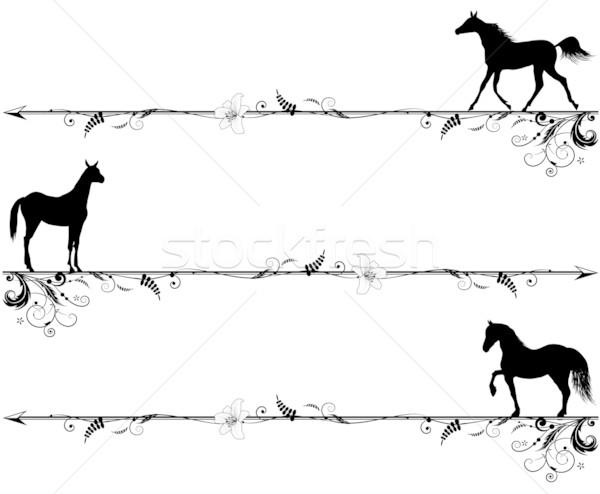 Zestaw konie wektora czarno białe kolory kwiat Zdjęcia stock © tanais