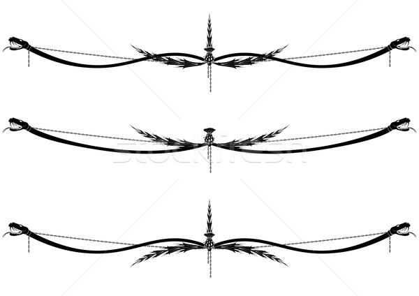 Ayarlamak vektör yılan siyah beyaz renkler Stok fotoğraf © tanais