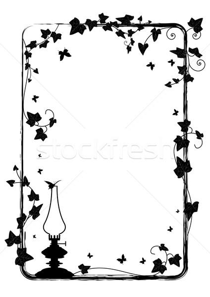 Sarmaşık çerçeve lamba vektör şube kelebekler Stok fotoğraf © tanais