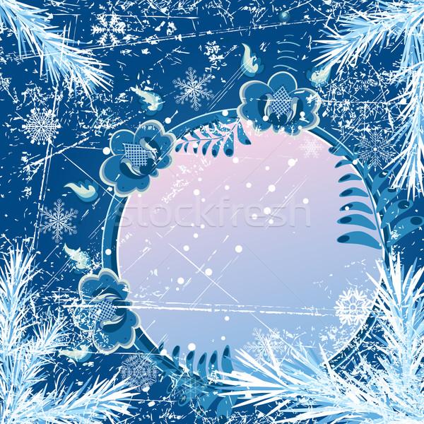 Karácsony szalag vektor fenyő ágak stilizált Stock fotó © tanais