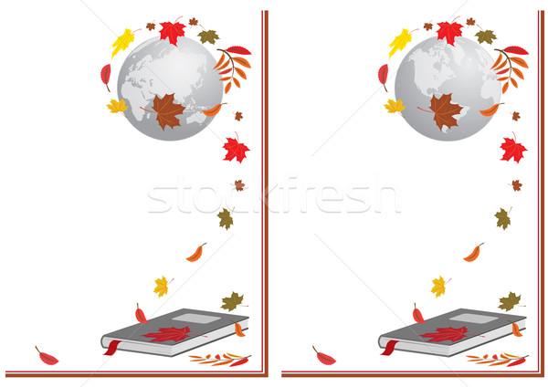 book, globe and autumnal leaves Stock photo © tanais